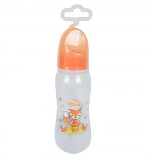 Бутылочка  с силиконовой соской полипропилен рождения, 250 мл, цвет: оранжевый Мир Детства