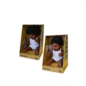 Набор кукол Близнецы мальчик и девочка африканцы 38 см Miniland