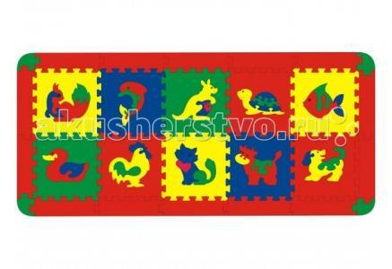 Игровой коврик  с животными 10 деталей Флексика