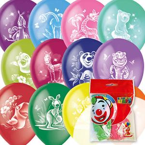 Воздушные шары  Весёлый зоопарк 10 шт., пастель + декоратор Latex Occidental