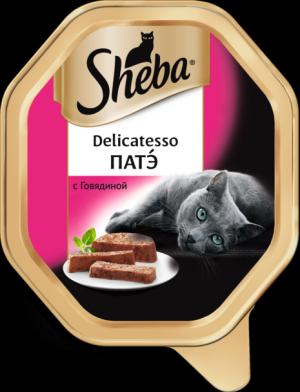 Влажный корм  Delicatesso для взрослых кошек, патэ с говядиной, 85г Sheba