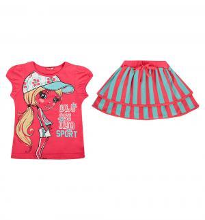 Комплект футболка/юбка , цвет: розовый Pelican