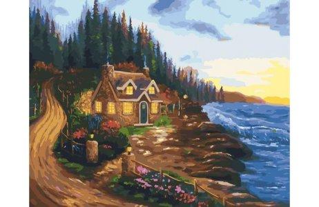 Картина по номерам на подрамнике Дом у моря 50х40 см Color Kit