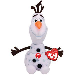 Музыкальая  Мягкая игрушка TY Снеговик Олаф, 23 см. Цвет: черный/белый