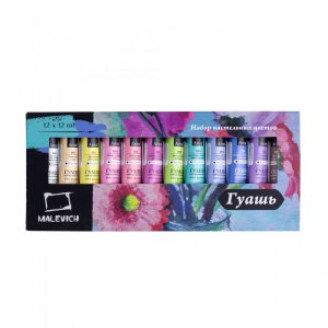 Набор гуаши пастельные цвета 12 цветов по мл Малевичъ