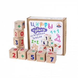 Деревянная игрушка  Кубики Цифры со шрифтом Брайля Краснокамская