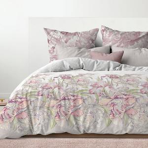 Комплект постельного белья  Царство пионов, евро Романтика. Цвет: разноцветный