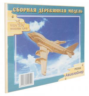 Сборная деревянная модель  Авиалайнер Wooden Toys