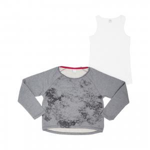 Комплект для девочки: футболка с длинным рукавом и топ s.Oliver. Цвет: серый