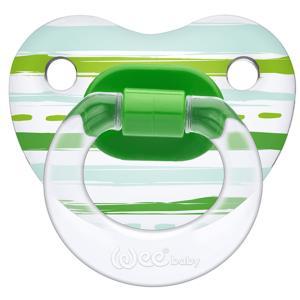 Соска-пустышка Weebaby прозрачная, ортодонтическая,с рисунком от 6 мес., зеленая