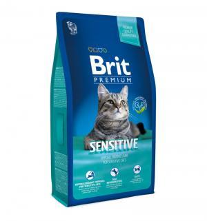 Сухой корм  Premium для взрослых кошек с чувствительным пищеварением, ягненок, 8кг Brit