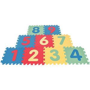 Игровой коврик 9-ти секционный с цифрами, 33х33х0,7 см Pilsan. Цвет: разноцветный