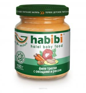 Пюре  филе трески с овощами и рисом 8 месяцев, 100 г Habibi