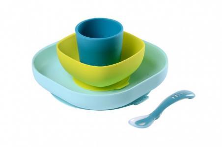 Набор посуды (2 тарелки, стакан, ложка) Silicone Meal Set Beaba