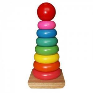 Деревянная игрушка  Пирамидка Яркие краски QiQu Wooden Toy Factory