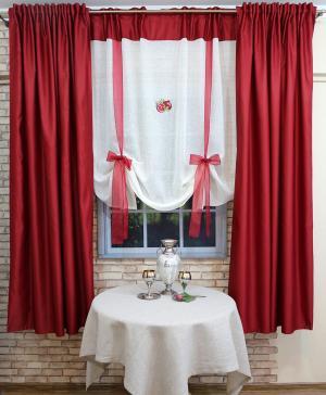 Набор из 2-х штор и тюля-экрана для кухни Сильвия Византия