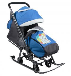Санки-коляска  Три медведя, цвет: синий Galaxy