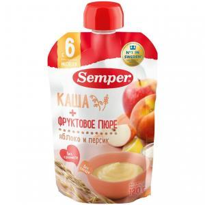 Пюре  яблоко-персик с кашей 6 месяцев, 120 г Semper