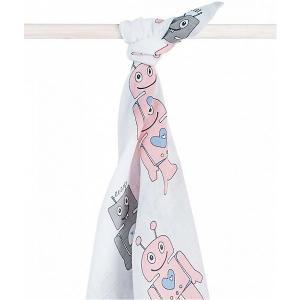 Муслиновая простынка-полотенце Jollein, розовые роботы, XL 140x200 см jollein. Цвет: розовый/белый
