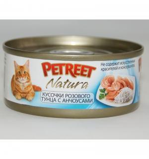 Влажный корм  для взрослых кошек, кусочки розового тунца/анчоус, 70г Petreet