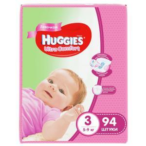 Подгузники  Ultra Comfort 3 для девочек (5-9 кг) 94 шт. Huggies