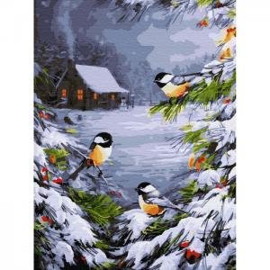 Картина по номерам с цветной схемой на холсте Зимний лес 40х30 см Molly
