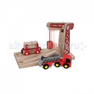Игровой набор Деревянная железная дорога с краном 6 деталей Eichhorn