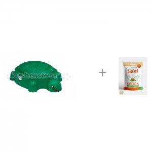 Песочница Черепаха с крышкой Т00234 и Песок для песочниц Mixplant Емеля 14 кг Paradiso