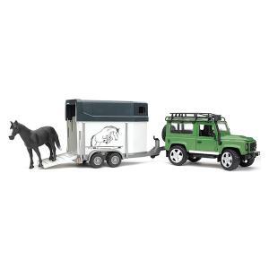 Внедорожник Land Rover Defender с прицепом-коневозкой и лошадью Bruder