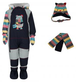 Комплект  комбинезон/шарф/варежки/пинетки, цвет: синий Fobs
