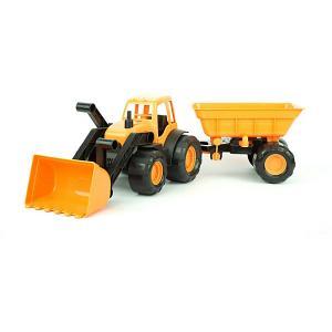 Трактор с ковшом и прицепом  Active 55 см, оранжевый Zebratoys. Цвет: оранжевый