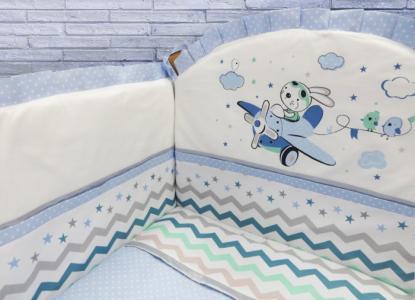 Комплект в кроватку  Зайка-летчик (6 предметов) Soni Kids