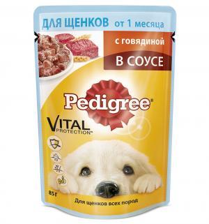 Влажный корм для щенков всех пород  Vital Protection с говядиной в соусе, 85 гр Pedigree
