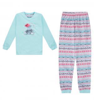 Пижама джемпер/брюки  Hippo, цвет: бирюзовый/розовый Cornette