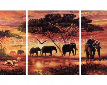 Картина по номерам Триптих Африканские слоны 50х80 см Schipper