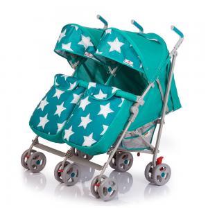 Прогулочная коляска для двойни  Twicey, цвет: ярко-бирюзовый/звезды BabyHit