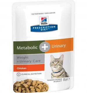 Влажный диетический корм Hills Prescription Diet Metabolic для взрослых кошек при урологическом стресс-синдроме на фоне избыточного веса, курица, 85г Hill's