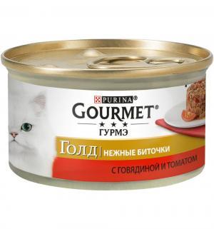 Влажный корм  Gold Нежные биточки для взрослых кошек, говядина/томаты, 85г Gourmet
