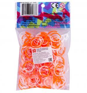 Набор цветных резиночек  для плетения Оранжево-белые Rainbow Loom