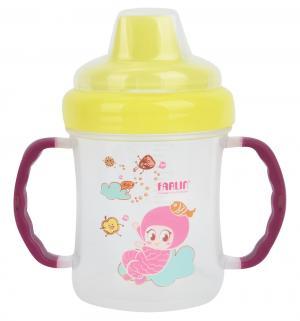 Чашка-непроливайка  С силиконовым носиком, цвет: желтый/ручки фиолетовые Farlin