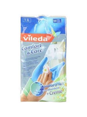 Перчатки хозяйственные  для чувствительной кожи рук с кремом комфорт, размер: S Vileda