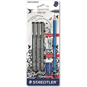 Набор капиллярных ручек Pigment liner, 3шт: (0,3/0,5/0,7 мм), Staedter Staedtler