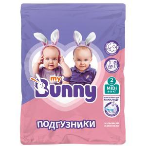 Подгузники  с канальцами Midi (4-9 кг) 2 шт. My Bunny