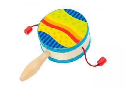Музыкальный инструмент  Барабанчик на ручке Радуга Goki