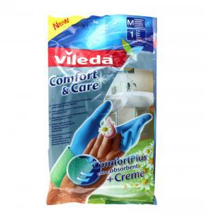 Перчатки хозяйственные  для чувствительной кожи рук с кремом комфорт, размер: M Vileda
