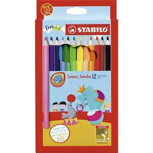 Набор цветных карандашей Stabilo Swans Jumbo, 12 цветов. Цвет: разноцветный