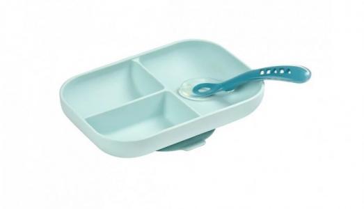 Набор посуды тарелка ложка Set repas silicone avec ventouse Beaba