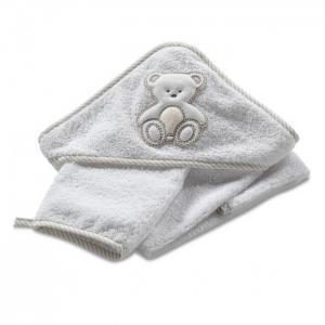 Махровое полотенце с капюшоном и мочалка Peluche 75х75 Italbaby