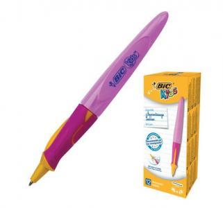 Ручка шариковая  Kids Twist д/детей корп.роз. с желт. толщ. письма 0.4мм син. Bic