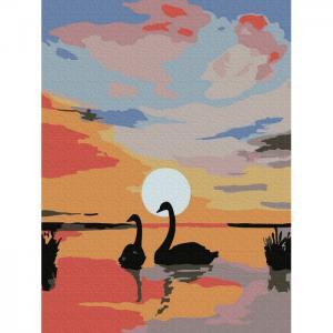 Картина по номерам Лебеди на закате 20х15 см Molly